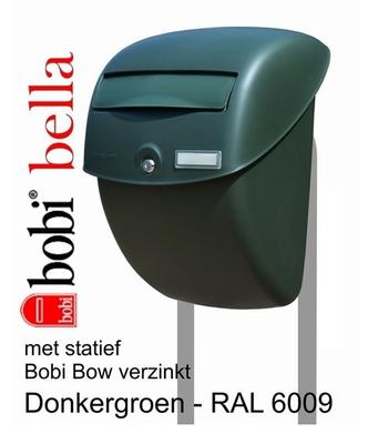 Brievenbus Bobi Bella groen + statief Bobi Bow verzinkt