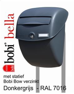 Brievenbus Bobi Bella grijs + statief Bobi Bow verzinkt