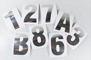 Huisnummer/container stickers Zilver RVS-look 6CM