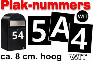 Huisnummer / container stickers Wit 8CM