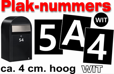 Huisnummer / container stickers Wit 4CM